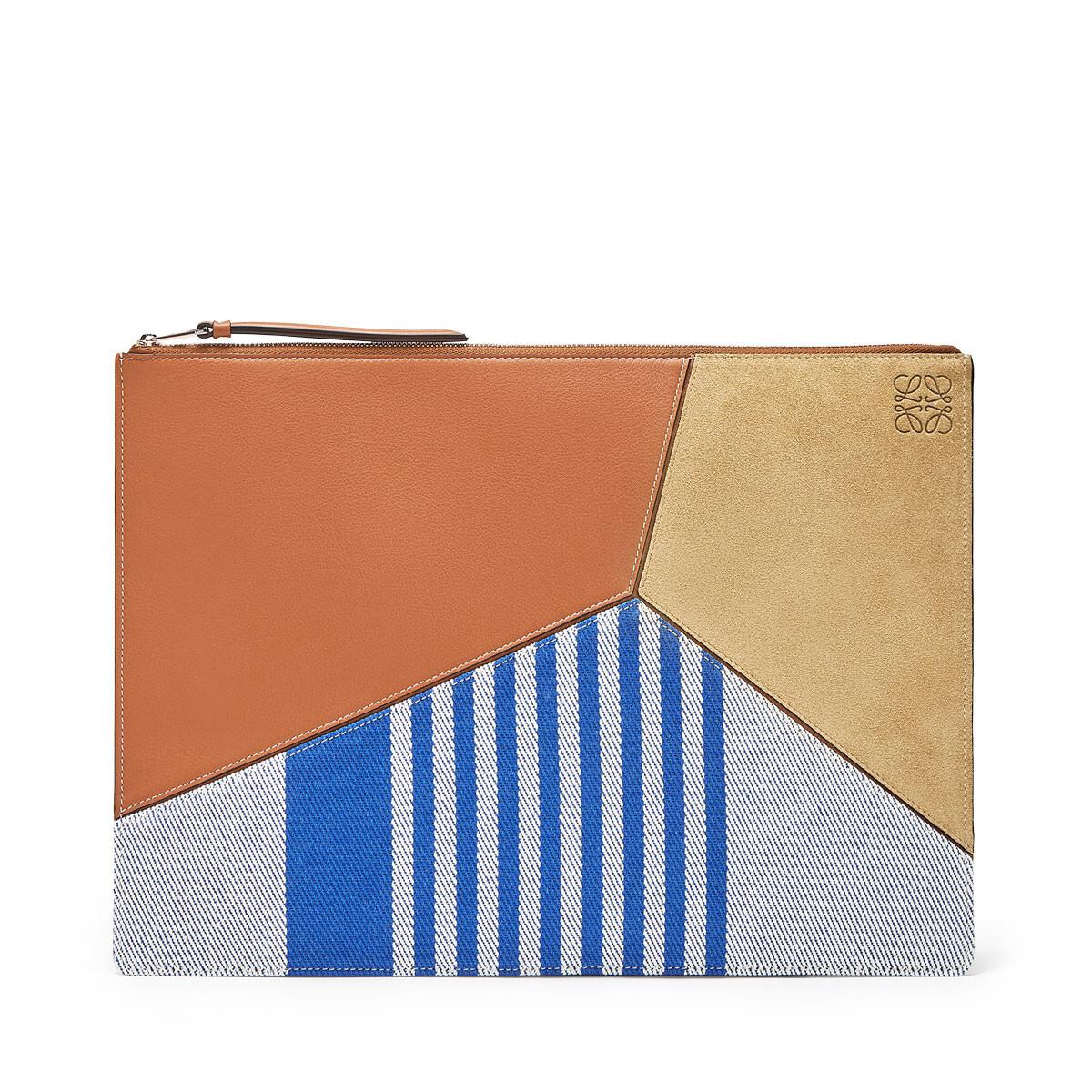 LOEWE Pouch Plano Grande Raya Puzzle Azul Pacifico/Multicolor front