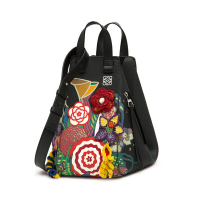 LOEWE Bolso Hammock Bouquet Mediano Negro/Multicolor front