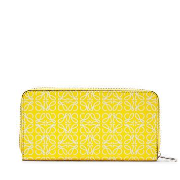 LOEWE Zip Around Wallet 黄色/白色 front