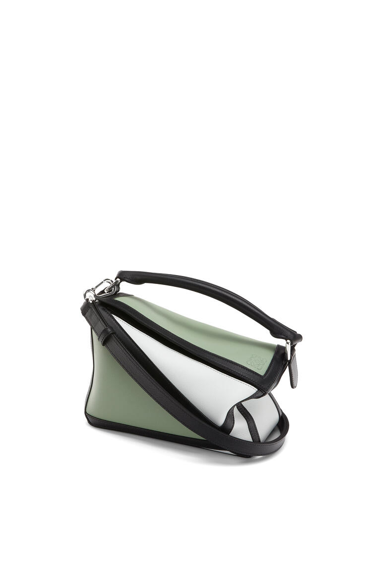 LOEWE Small Grid Puzzle Bag In Classic Calfskin Pale Green/Kaolin pdp_rd