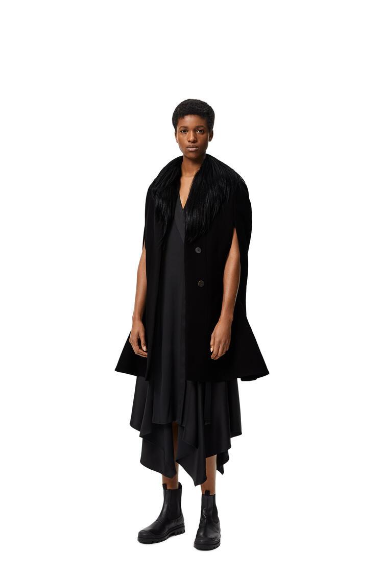 LOEWE Shearling collar cape coat in wool and novack Black pdp_rd