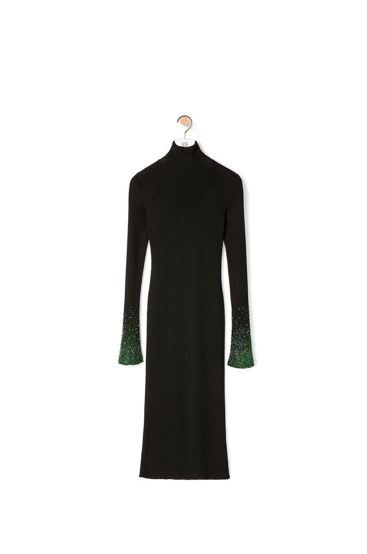 LOEWE Turtleneck embellished midi dress in wool Black pdp_rd