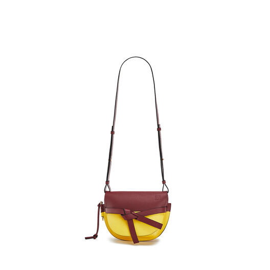 LOEWE Gate Colour Block Small Bag Wine/Yellow front