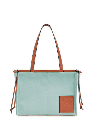 LOEWE Cushion tote bag in canvas and calfskin Aqua pdp_rd
