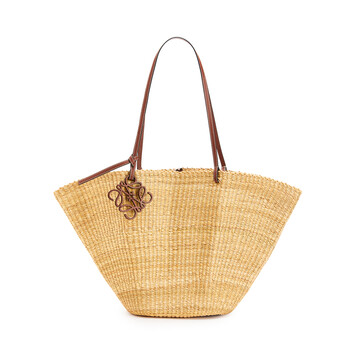 LOEWE Shell Basket Bag In Elephant Grass And Calfskin Natural/Pecan front