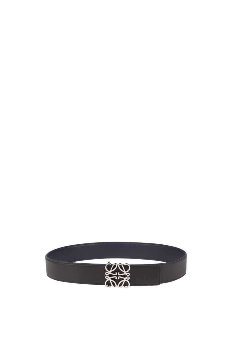 LOEWE Anagram belt in smooth calfskin Navy Blue/Black/Palladium pdp_rd