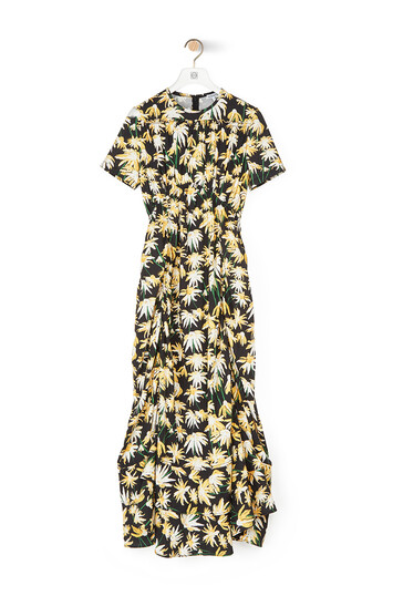 LOEWE Daisy Ruffle Gathered Dress Black/Yellow front