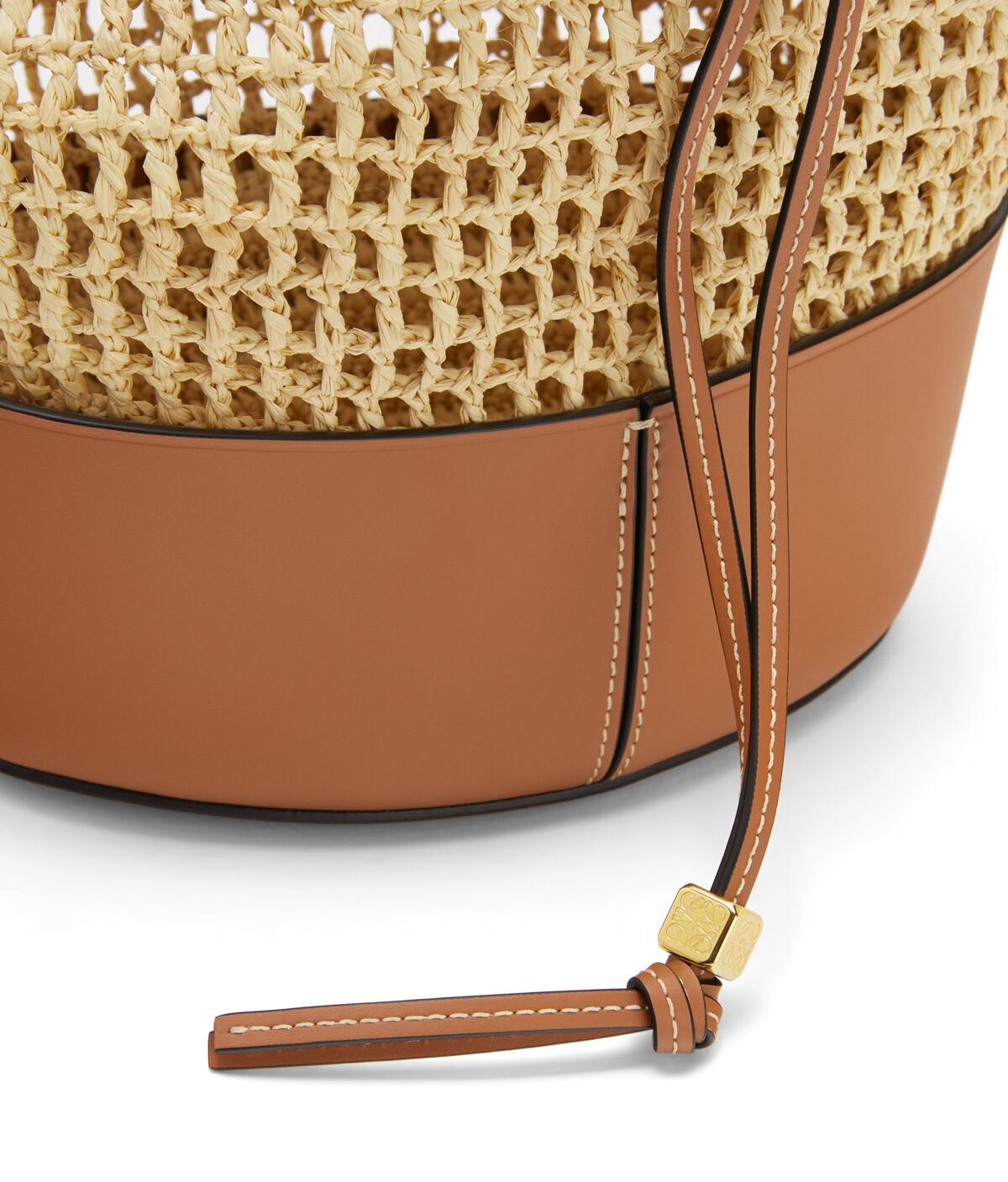 LOEWE Balloon Bag In Raffia And Calfskin Natural/Tan front