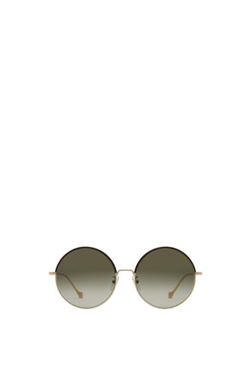 LOEWE Round Sunglasses in metal and calfskin Brown/Khaki Green pdp_rd