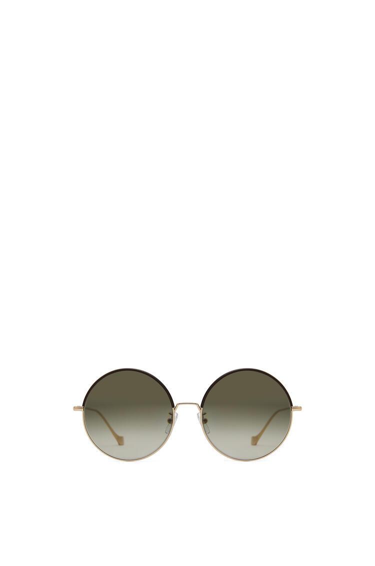 LOEWE Gafas de sol redondas en metal y piel Marron/Verde Kaki pdp_rd