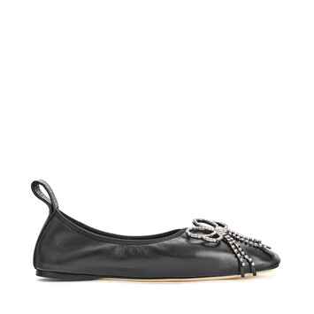 LOEWE Strassed Bow Ballerina Black front