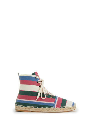 LOEWE Lace up boot espadrille in canvas Pink/Green/Light Blue pdp_rd
