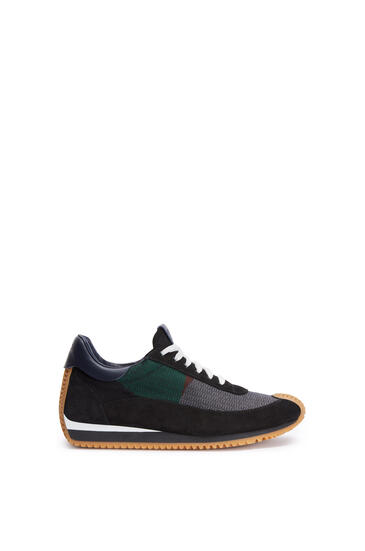 LOEWE Flow runner in jacquard and calfskin Black/Multicolor pdp_rd