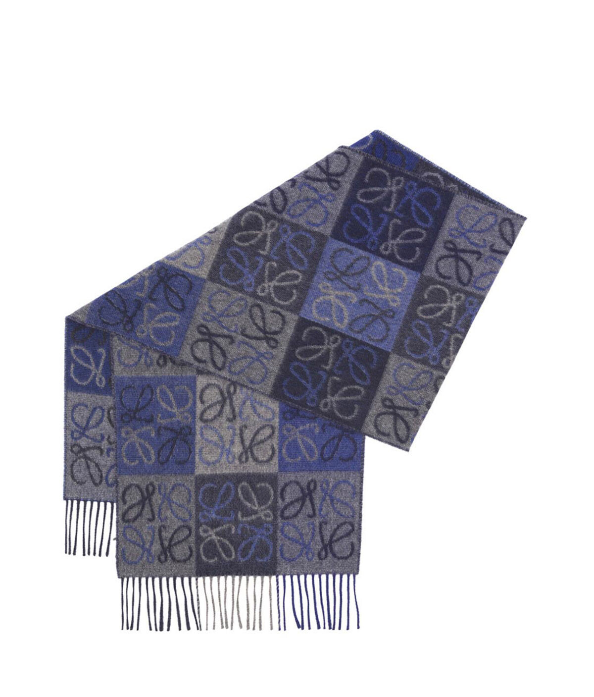 LOEWE 38X180 Scarf Anagram In Lines Blue front