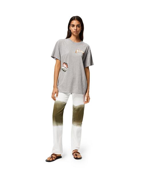 LOEWE Camiseta De Algodón Con Estampado De Sirenas Gris Melange front