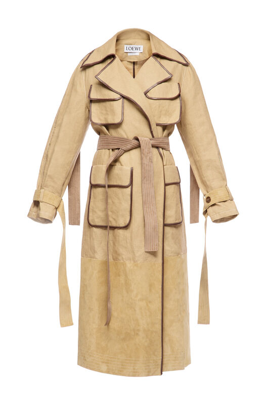LOEWE Patch Pocket Trench Coat Gold front