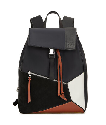 LOEWE Puzzle Trainers Backpack 黑色/棕褐色 front