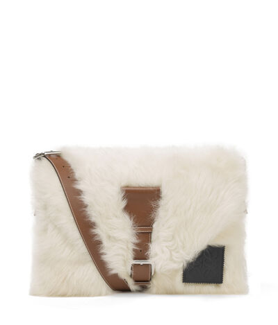 LOEWE Shearling Messenger Bag Natural/Tan front