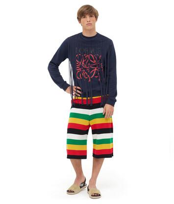 LOEWE Sweatshirt Anagram Fringes Azul/Rojo front