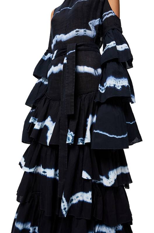 LOEWE Ruffle Dress In Tie Dye Cotton And Linen Blue/White front