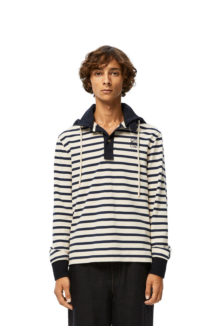 LOEWE Hooded polo in striped cotton White/Blue pdp_rd
