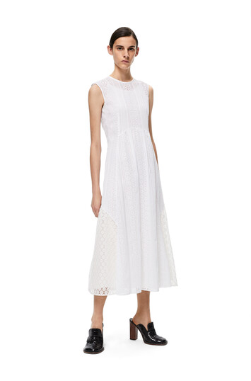 LOEWE Sleeveless Lace Dress Blanco front