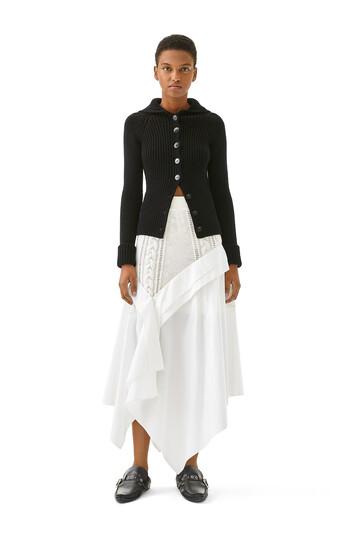 LOEWE Knit & Popeline Skirt White front