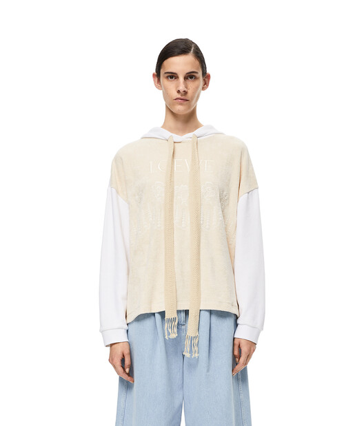 LOEWE Embroidered Hoodie Ecru/White front