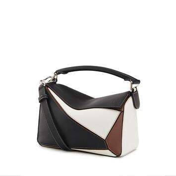 LOEWE Puzzle Small Bag Black/Brunette front