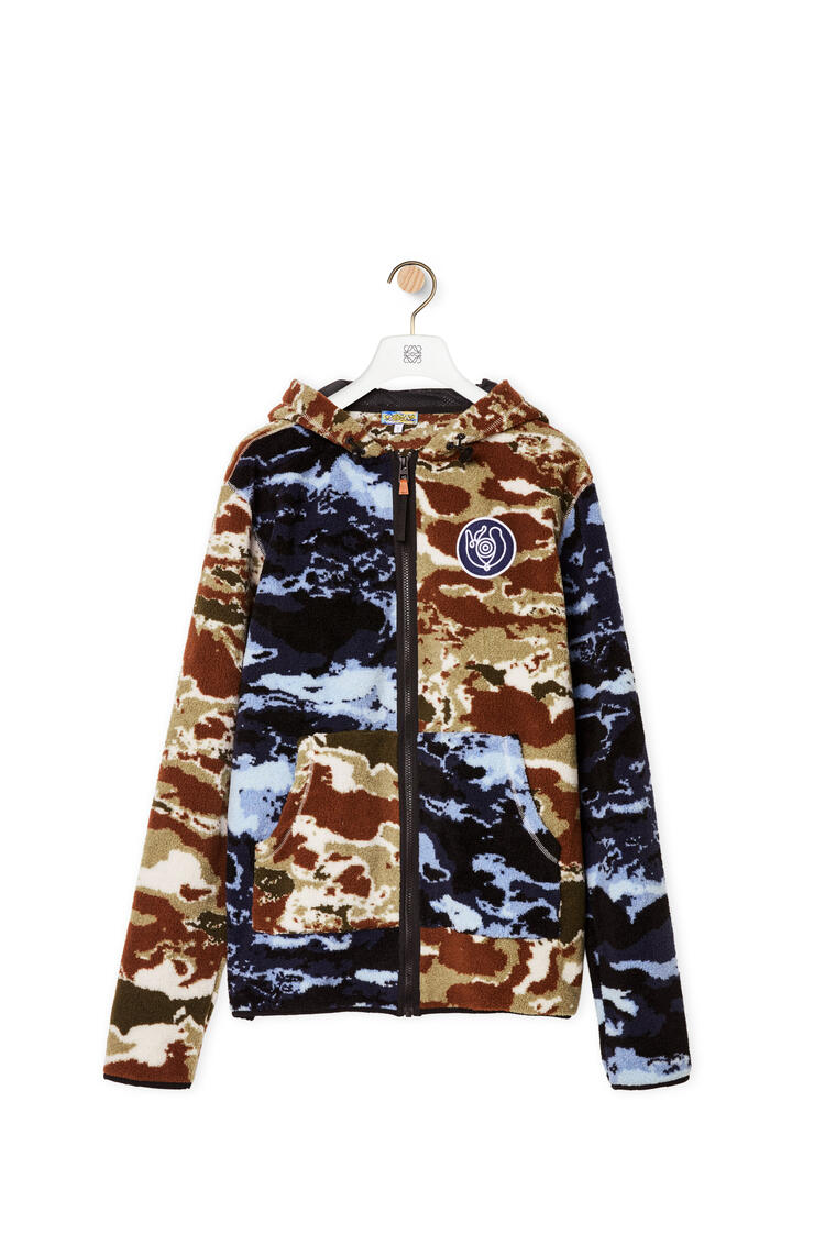 LOEWE Camouflage fleece hooded jacket Blue/Brown pdp_rd