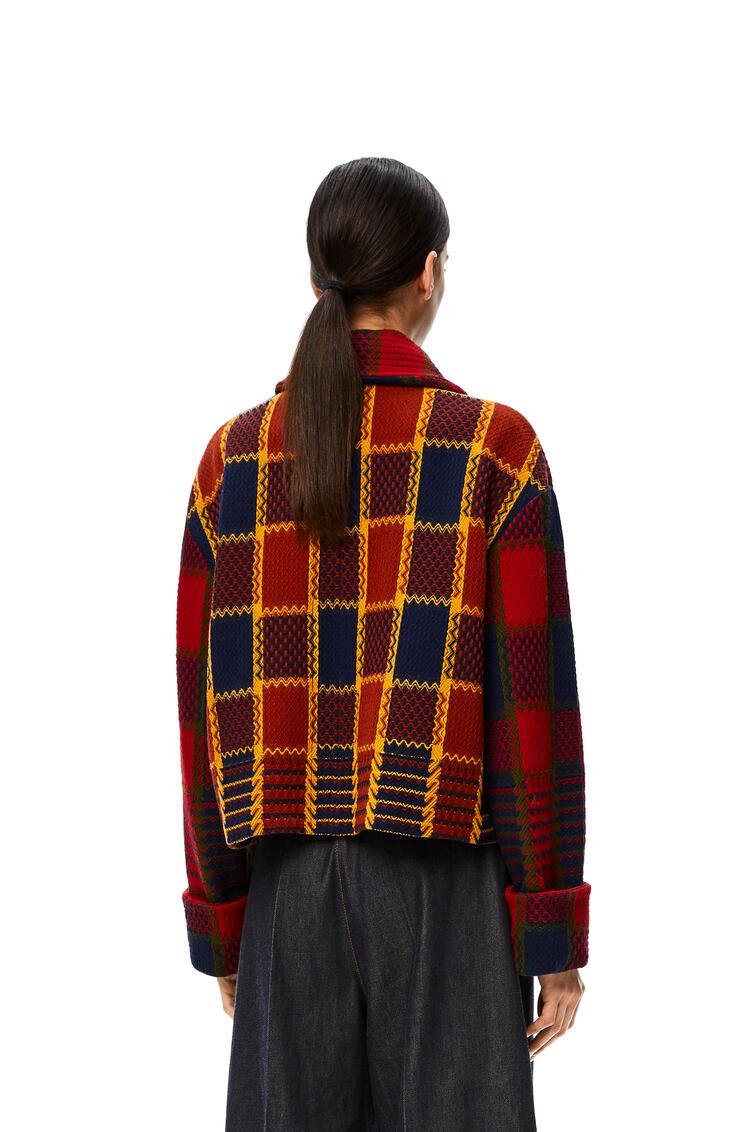 LOEWE Cropped jacket in check wool Red/Navy pdp_rd