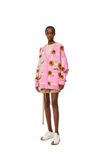 LOEWE Oversize jacquard cardigan in wool Natural/Pink Tulip pdp_rd