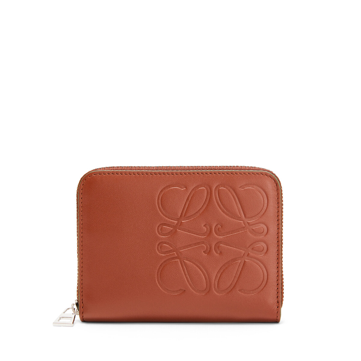 LOEWE Brand 6 Card Zip Wallet Cognac front