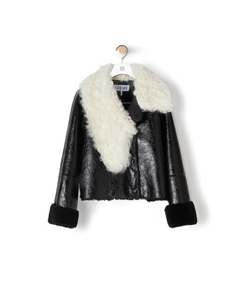 LOEWE Shearling Jacket ブラック/ホワイト front
