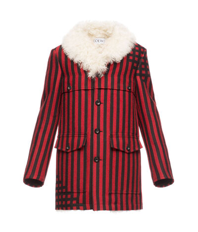 LOEWE Check Jacket Shearling Collar Black/Brick Red front
