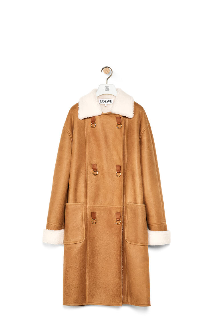 LOEWE Oversize double breasted coat in shearling Light Brown pdp_rd