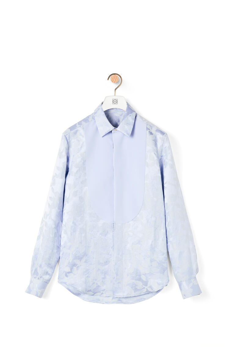 LOEWE Flower jacquard bib shirt in linen and silk Baby Blue pdp_rd
