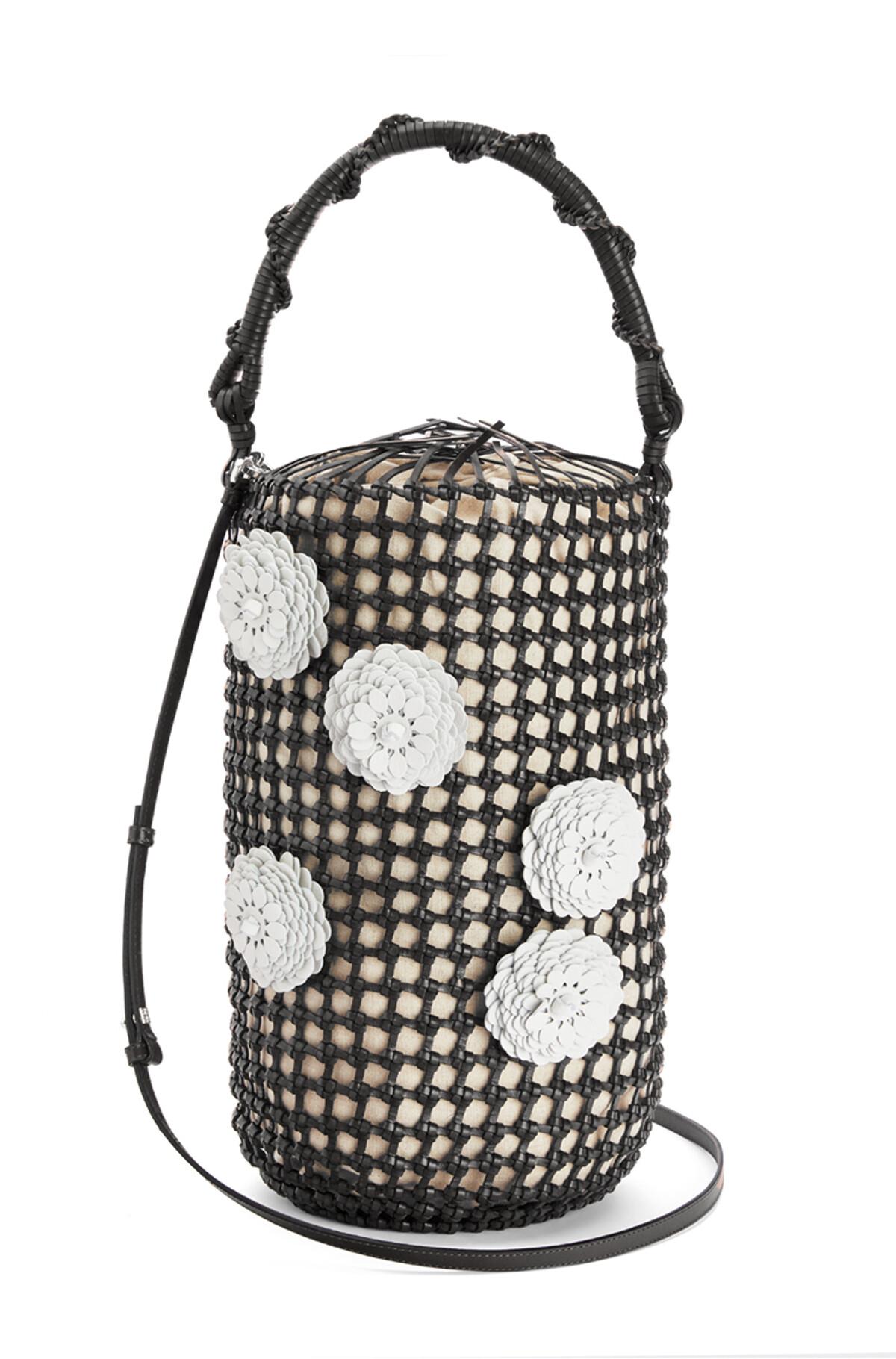 LOEWE Bucket Mesh Flower Bag Black front