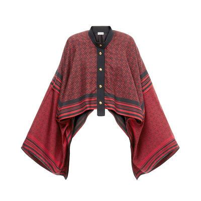 LOEWE スカーフ ジャケット アナグラム ブラック/レッド front