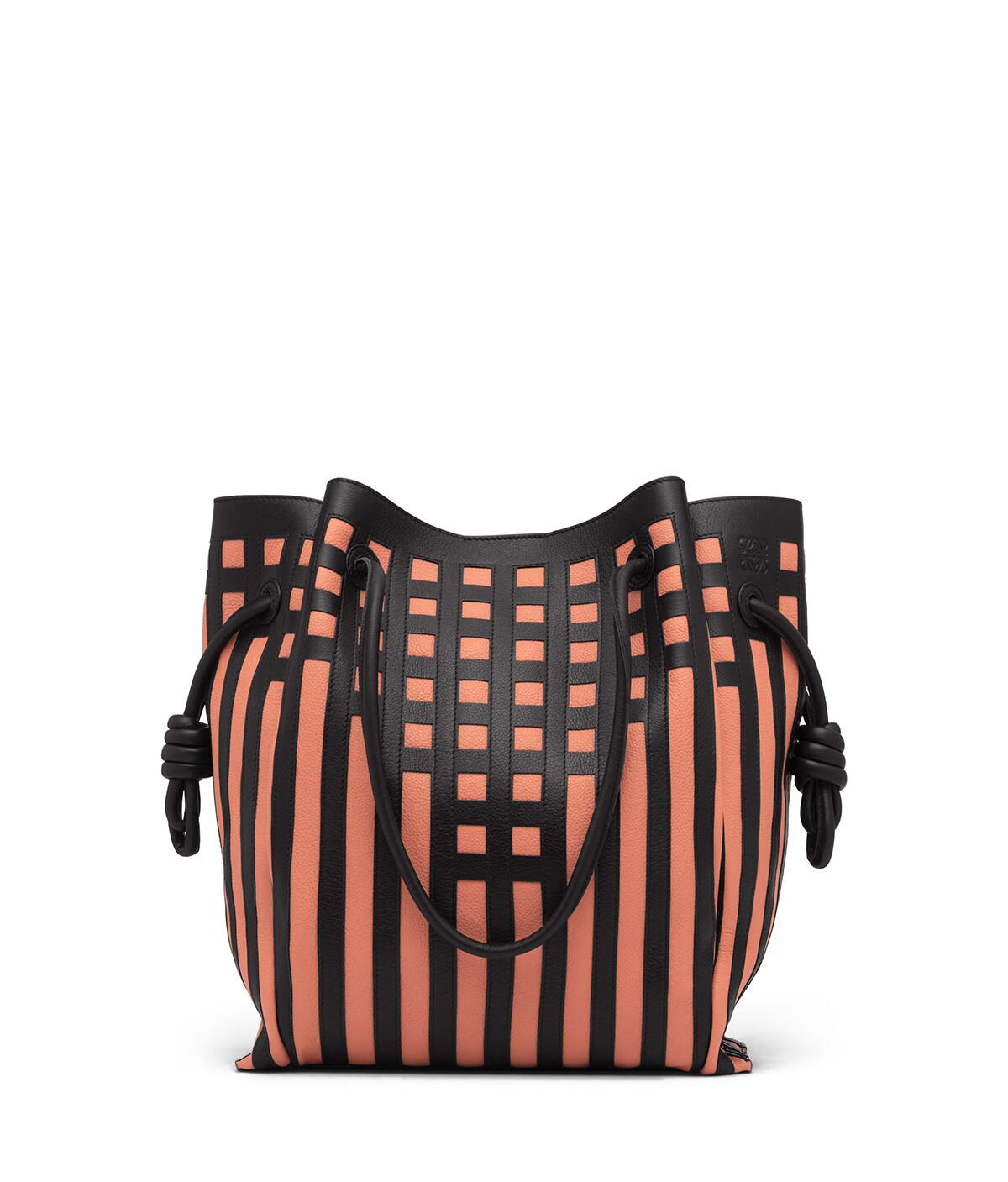 LOEWE Flamenco Knot Tote Grid Bag Black/Pink Tulip front