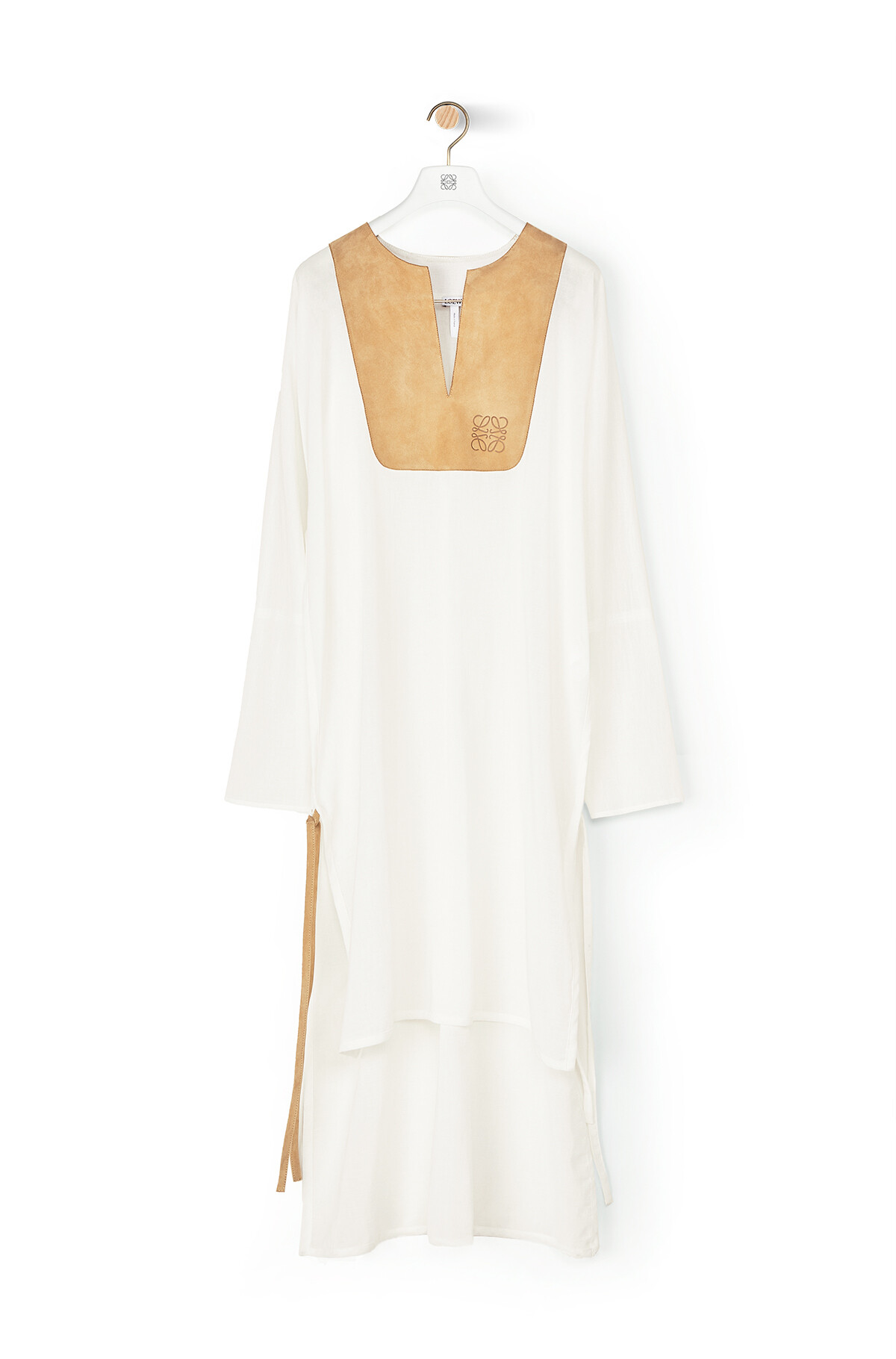 LOEWE Tunic Dress Suede Bib White/Beige front