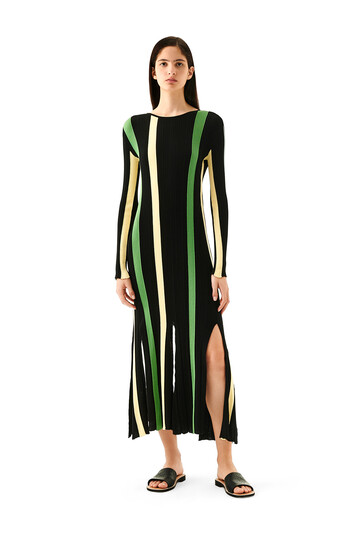 LOEWE Stripe Rib Knit Dress Amarillo/Negro front