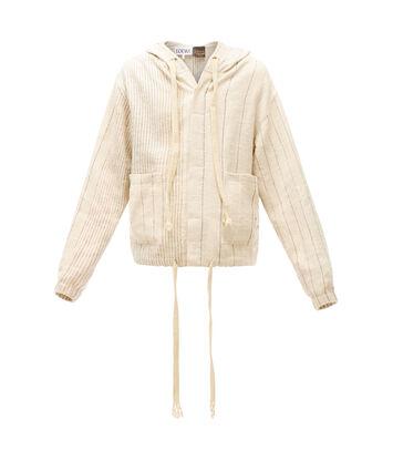 LOEWE Paula Stripe Hood Jacket 淡褐色 front