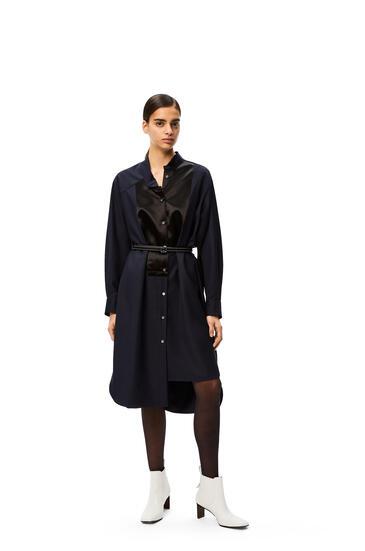 LOEWE Asymmetric midi shirtdress leather belt in wool Navy Blue pdp_rd