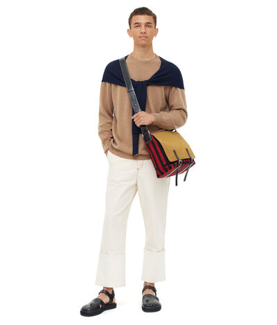LOEWE Shoulder Sleeve Sweater Beige/Navy Blue front