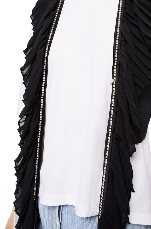 LOEWE Crystal Strap Collar Top Negro front