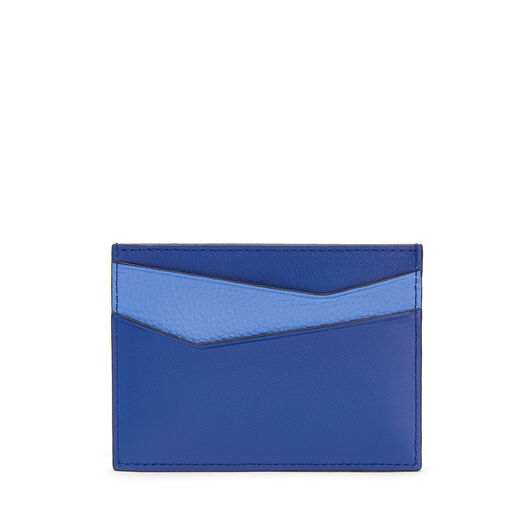 LOEWE Puzzle Plain Card Holder Pacific Blue/Seaside Blue front