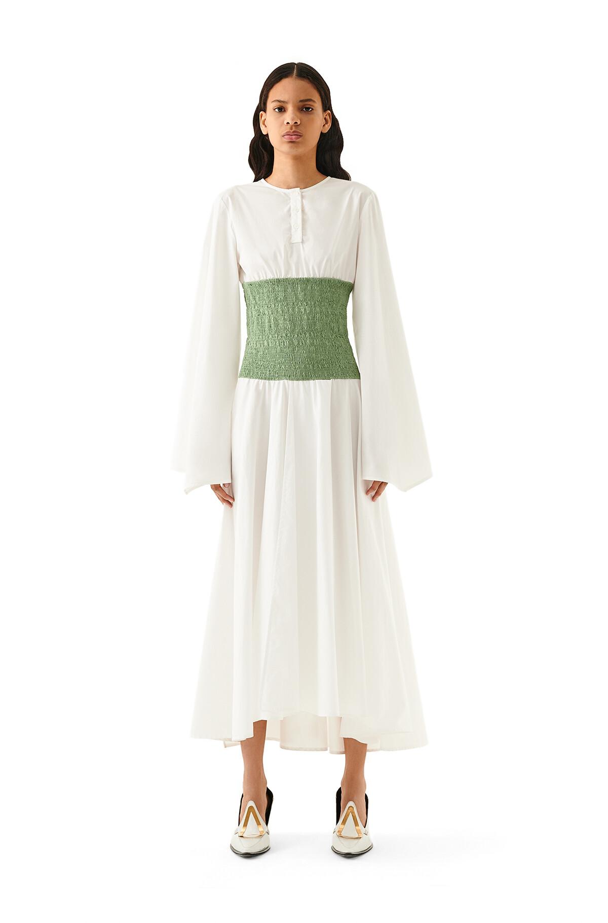 LOEWE Smock Waist Dress Pistachio Green front