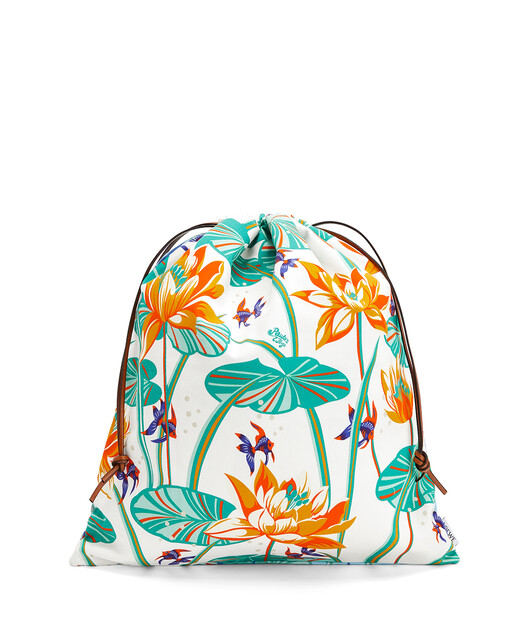 LOEWE Drawstring Pouch In Waterlily Canvas Aqua/White front