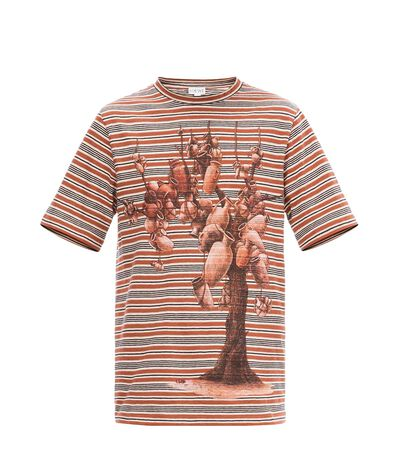 LOEWE Pottery Tree Stripe Tshirt Brick Red/Natural White/Black front